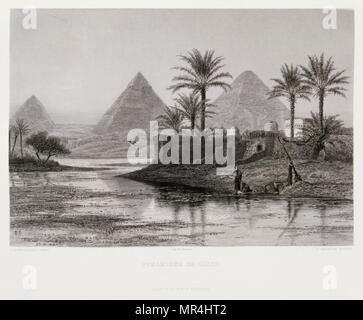 Engraving by Victor Guerin (1821 - 1891) depicting the pyramids at Giza, Egypt 1875 - Stock Photo