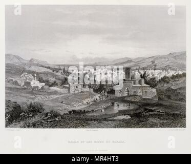 Engraving by Victor Guerin (1821 - 1891) depicting the outskirts of Damascus in Syria 1875 - Stock Photo