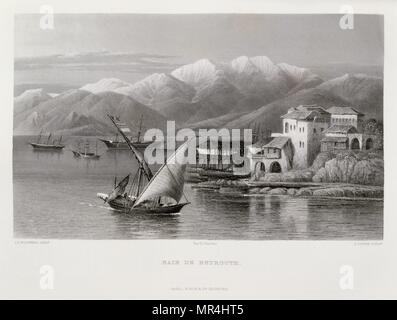 Engraving by Victor Guerin (1821 - 1891) depicting the harbour of Beirut, Lebanon. 1875 - Stock Photo
