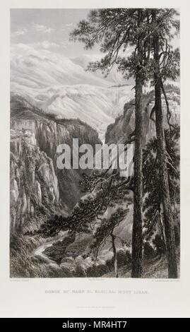 Engraving by Victor Guerin (1821 - 1891) depicting Mount Lebanon, Lebanon. 1875 - Stock Photo