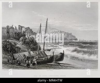 1875 Engraving, by Victor Guerin (1821 - 1891), depicting Jaffa and the coast, Palestine - Stock Photo