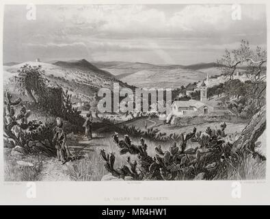 1875 Engraving, by Victor Guerin (1821 - 1891), depicting the Nazareth Valley, Palestine - Stock Photo