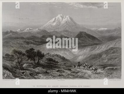 1875 Engraving, by Victor Guerin (1821 - 1891), depicting Mount Hermon in Syria - Stock Photo