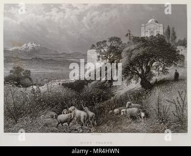 1875 Engraving, by Victor Guerin (1821 - 1891), depicting Mount Tabor in Palestine - Stock Photo