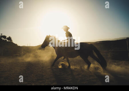beautiful girl ride a horse in silhouette and backlight with sunflare and dust from the ground. epic and heroes image for speed and cowbot life and ad - Stock Photo