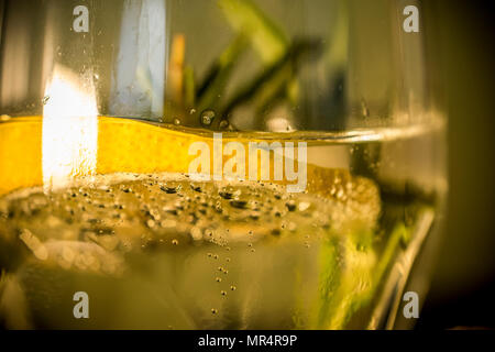 Close-up of a glass of tonic with lemon and rosemary - Stock Photo