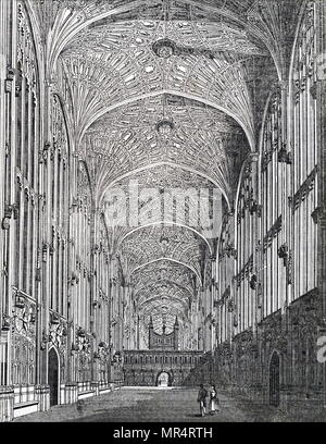 Engraving depicting the interior of King's College Chapel, Cambridge, showing the fan vaulted celling. Dated 19th century - Stock Photo