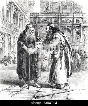 Engraving depicting a scene from William Shakespeare's The Merchant of Venice. Shylock (right) is seen learning from Tubal that Antonio is in financial difficulties, and that there is a chance that he can enforce his contract for repayment with 'a pound of flesh'. William Shakespeare (1564-1616) an English poet, playwright and actor. Dated 19th century - Stock Photo