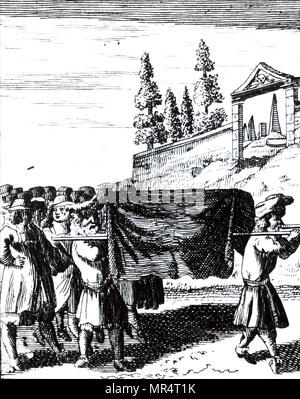 Engraving depicting the Holy Ark being carried in Jerusalem. Absalom's tomb in the background. Dated 18th century - Stock Photo