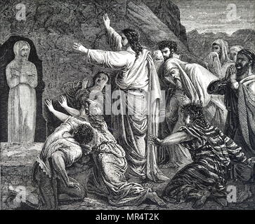 Engraving depicting the raising of Lazarus. Jesus raises Lazarus, the brother of Martha and Mary, from the dead after being deceased for 4 days. Dated 19th century - Stock Photo