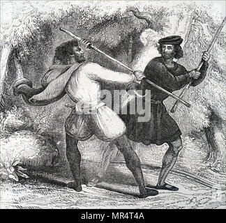 Engraving depicting Robin Hood, a legendary English folk hero and outlaw, champion of the poor. An expert with the longbow and quarter-staff. Robin (left) defends himself with a quarter-staff against the Tanner. Dated 19th century - Stock Photo