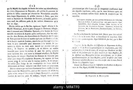 The royal proclamation on the standardisation of measurements throughout France. Dated 18th century - Stock Photo