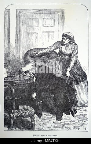 Illustration depicting a scene from 'The Adventures of Philip' by William Makepeace Thackeray. A nurse is shown to be administering chloroform to her patient. The Adventures of Philip on his Way Through the World: Showing Who Robbed Him, Who Helped Him, and Who Passed Him By was the final novel completed by Thackeray. William Makepeace Thackeray (1811-1863) a British novelist and author. Dated 19th century - Stock Photo