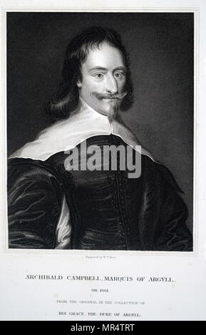 Portrait of Archibald Campbell, 1st Marquess of Argyll (1607-1661) a Scottish nobleman, politician, and peer. Dated 17th century - Stock Photo