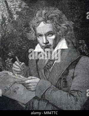Portrait of Ludwig van Beethoven (1770-1827) a German composer and pianist. Dated 19th century - Stock Photo