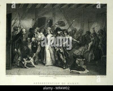 Engraving depicting Charlotte Corday (1768-1793) a figure of the French Revolution. Dated 18th century - Stock Photo