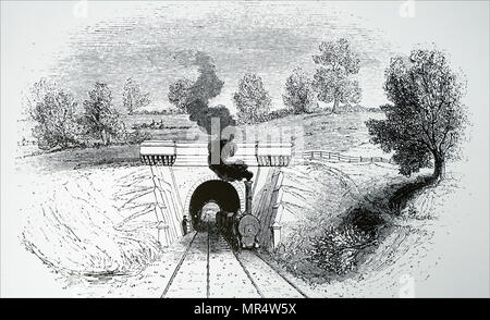 Engraving depicting Snow Hill Tunnel on the London to Birmingham Railway Line. Dated 19th century - Stock Photo