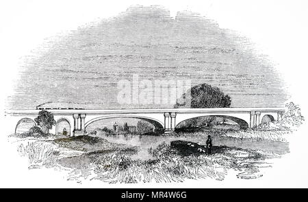 Engraving depicting Maidenhead Railway Bridge which carried the Great Western Railway across the Thames at Maidenhead. Designed by Isambard Kingdom Brunel (1806-1859) an English mechanical and civil engineer. Dated 19th century - Stock Photo