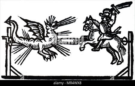 Illustration depicting a firework set piece of St George fighting the Dragon. Wickerwork or straw figurers were made, and various types of fireworks placed in them. Using a system of ropes and pulleys the figures could be made to move towards or away from each other. Dated 17th century - Stock Photo