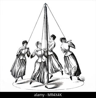 Illustration depicting female gymnasts: apparatus such as the bar, the ropes, or climbing frames which developed muscle were considered unsuitable for women. Instead female exercises were based on bending, stretching and swinging to encourage graceful carriage. The Rundlauf: a May-Pole like apparatus where the girls ran in a circle , each holding a bar suspended from the pole by a rope. Dated 19th century - Stock Photo
