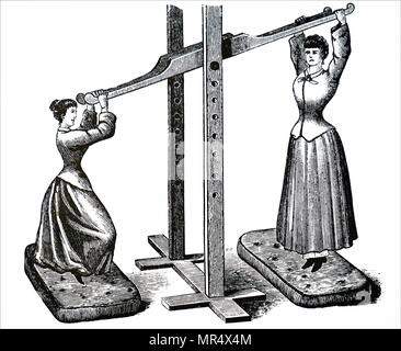 Illustration depicting female gymnasts using a see-saw type machine. Apparatus such as the bar, the ropes, or climbing frames which developed muscle were considered unsuitable for women. Instead female exercises were based on bending, stretching and swinging to encourage graceful carriage. - Stock Photo