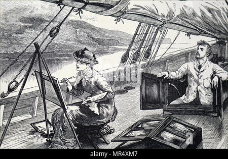 Illustration depicting a young woman painting on the deck of a boat as it sails down a river. Dated 19th century - Stock Photo