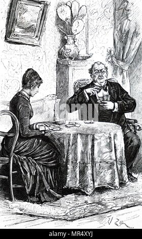 Illustration depicting a man and woman playing cards in the parlour. Dated 19th century - Stock Photo
