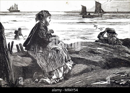 Illustration depicting a young woman reading beside the sea. Illustrated by George John Pinwell (1842-1875) a British illustrator and Water-colourist. Dated 19th century - Stock Photo