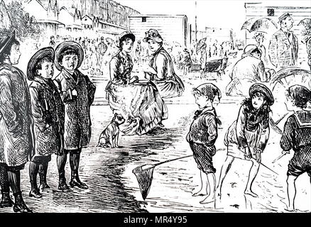 Cartoon commenting on the stark contrast between the upper and lower class holidaymakers. Illustrated by George du Maurier (1834-1896) a Franco-British cartoonist and author. Dated 19th century - Stock Photo