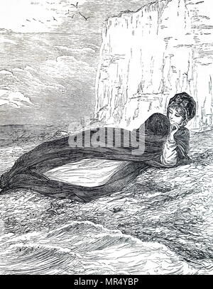 Illustration depicting a young woman relaxing on the beach. Illustrated by Mary Ellen Edwards (1838-1934) an English artist. Dated 19th century