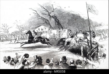 Illustration depicting the 1836 Grand Liverpool Steeplechase, the first of three unofficial annual precursors of a steeplechase which later became known as the Grand National. Dated 19th century - Stock Photo