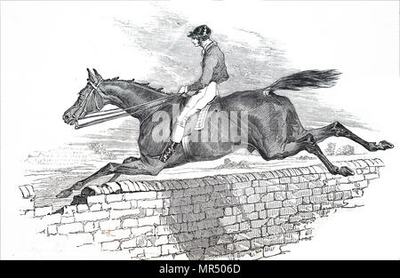 Illustration depicting a horse from the 1836 Grand Liverpool Steeplechase, the first of three unofficial annual precursors of a steeplechase which later became known as the Grand National. Dated 19th century - Stock Photo
