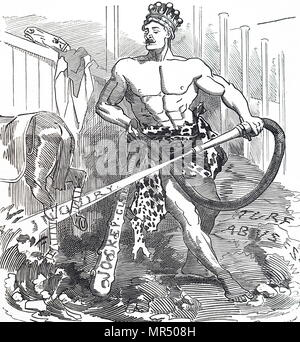 Cartoon titled 'Hercules in the Augean Stable'. Hercules is depicted attempting to clean the Augean Stables. The cartoon is commenting on the abuses in the sport of horseracing had led to an enquiry being set up. Dated 19th century - Stock Photo