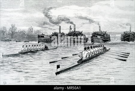 Illustration depicting a scene from Cambridge and Oxford University Boat Race. Dated 19th century - Stock Photo