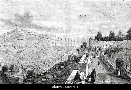 Illustration depicting a view of Mount of Olives (or Mount Olivet) mountain ridges east of and adjacent to Jerusalem's Old City. It is named for the olive groves that once covered it's slopes. Dated 19th century - Stock Photo