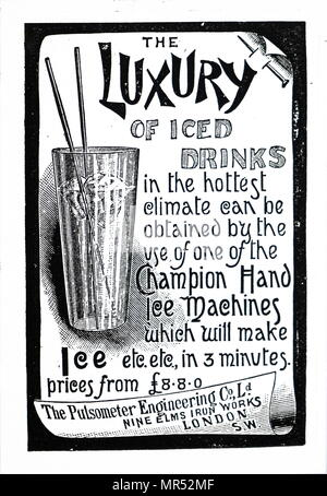 Advertisement for Champion Ice Machines. Dated 19th century - Stock Photo