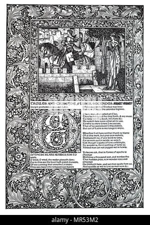 Decorative poem by Geoffrey Chaucer (c.1345-1400) known as the Father of English Literature, he was a English poet of the Middle Ages. Dated 14th century - Stock Photo