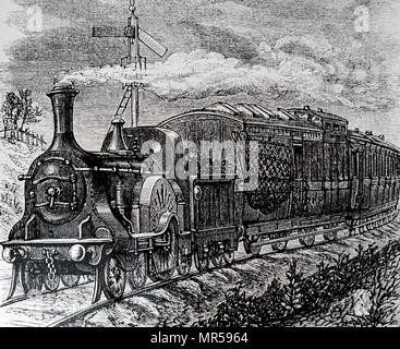 Engraving depicting a mail train on the Great Northern Railway Line. Dated 19th century - Stock Photo