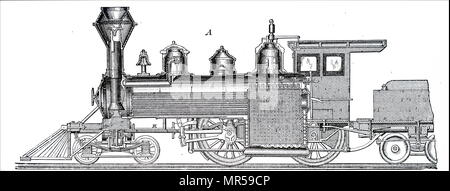Engraving depicting a central longitudinal section of a locomotive by Baldwin Locomotive Works, Philadelphia. Dated 19th century - Stock Photo