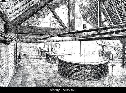 Engraving a scene from within the WM Younger & Co., Holyrood Brewery - the mashing stage, where malt and water were thoroughly mixed together. Dated 19th century - Stock Photo