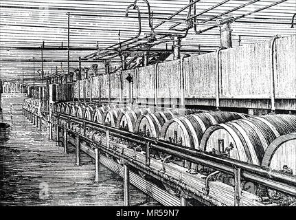 Engraving a scene from within the WM Younger & Co., Holyrood Brewery - cleansing beer in union casks, where it was cleared after the primary fermentation. Dated 19th century - Stock Photo