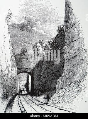 Engraving depicting the Olive Mount cutting, a 2 miles sandstone railway cutting, 4 miles from Liverpool, along the railway to Manchester, which was opened in 1830. Dated 19th century - Stock Photo