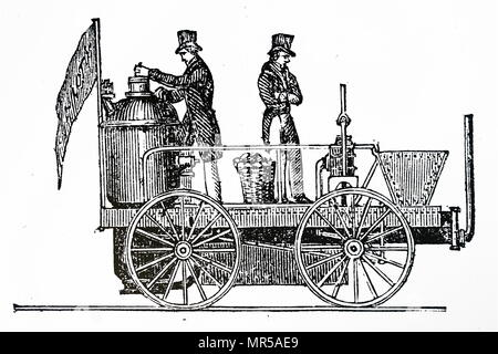 Engraving depicting Braithwaite & Ericsson's locomotive 'Novelty'. Novelty was an early steam locomotive which took part in the Rainhill Trials in 1829. John Braithwaite (1797-1870) an English engineer who invented the first steam fire engine. John Ericsson (1803-1889)  a Swedish-American inventor, active in England and the United States, and regarded as one of the most influential mechanical engineers ever. Dated 19th century - Stock Photo