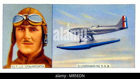 Wing Commander George Hedley Stainforth AFC RAF (1899 - 27 September 1942) was a British Royal Air Force pilot and the first man to exceed 400 miles per hour. He won the Schneider Trophy in 1931 in a Supermarine S6B aircraft - Stock Photo