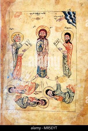 Armenian Christian illustrated manuscript showing the transfiguration of Christ, 14th century - Stock Photo