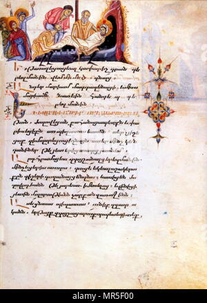 Armenian Christian illustrated manuscript showing the entombment of Christ - Stock Photo
