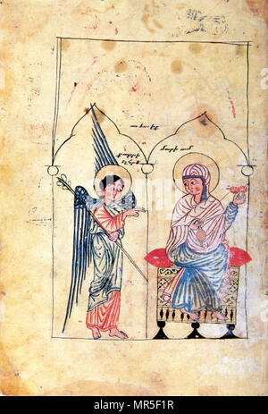 Armenian Christian illustrated manuscript showing the annunciation; 14th century - Stock Photo