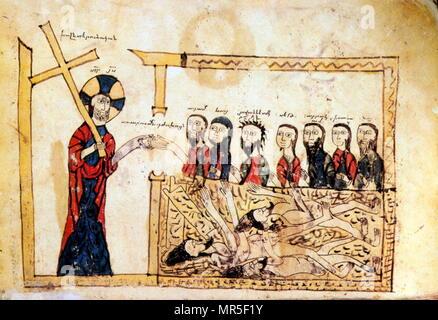 Armenian Christian illustrated manuscript showing Christ; 13th century - Stock Photo