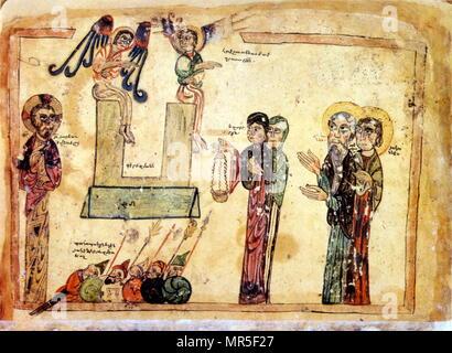 Armenian Christian illustrated manuscript showing the resurrection of Christ. 14th century - Stock Photo
