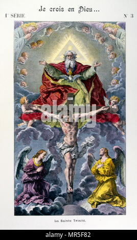 Illustration from the 'Grand Catechism for Families'. 1907. depicting the holy trinity - Stock Photo